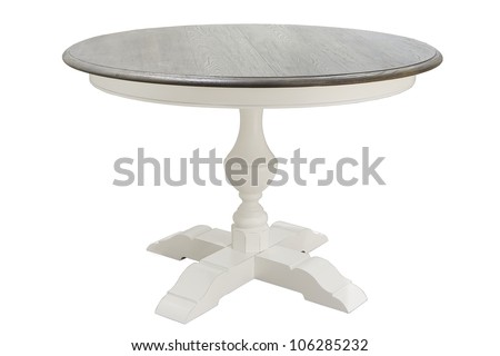 antique white wooden round table isolated on white background - stock photo