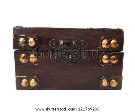 Antique wood casket isolated on white - stock photo