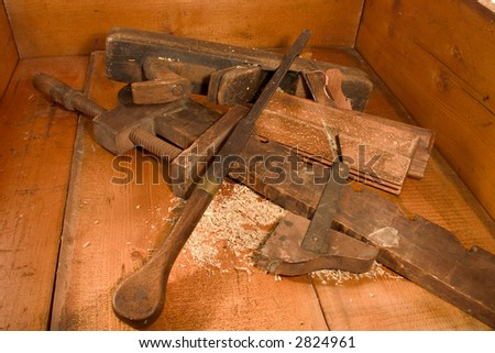 Antique Wood Plane's ,  Screw Driver & Clamp - stock photo