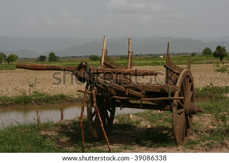 antique wood vagon, myanmar, burma - stock photo