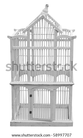 Antique Wooden Birdcage isolated with clipping path - stock photo