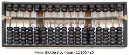 Antique wooden black in color abacus at its default state (representing zero in number) - stock photo