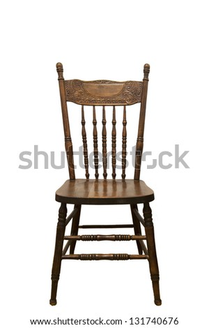 Antique wooden chair on white background