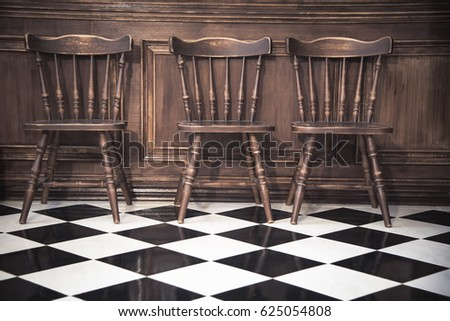 Antique Wooden Chairs Vintage Tile Black Stock Photo (Safe To Use)  625054808   Shutterstock