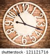 antique wooden clock at a bar in berlin - stock photo