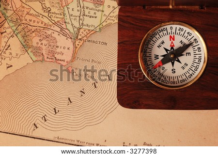 USA Map And Compass Stock Images Image Best Ancient - Antiques us maps with compass