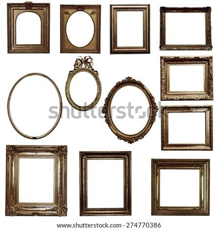 antique wooden frame On white background - stock photo