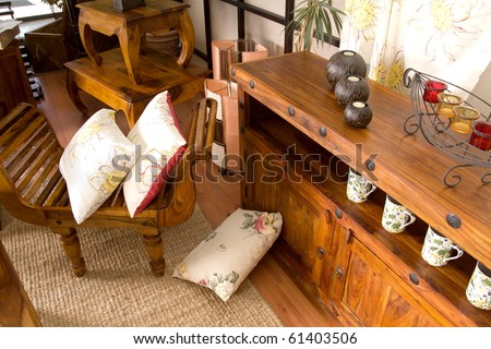 Antique wooden furniture - stock photo