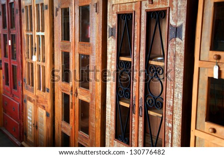 Antique wooden shelf's in a row - stock photo