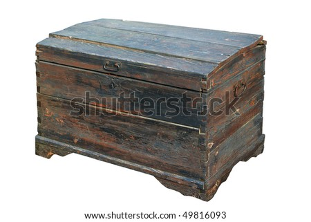 Antique wooden trunk. Isolated on white, with clipping path. - stock photo