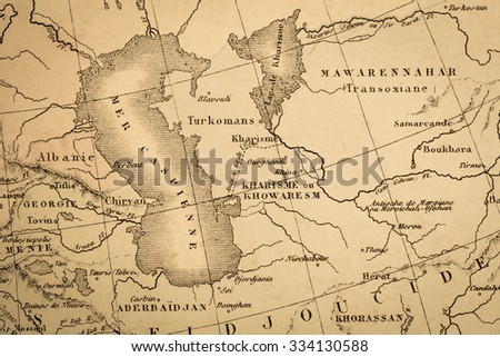 Antique World Map Near Caspian Sea Stock Photo - Caspian sea world map