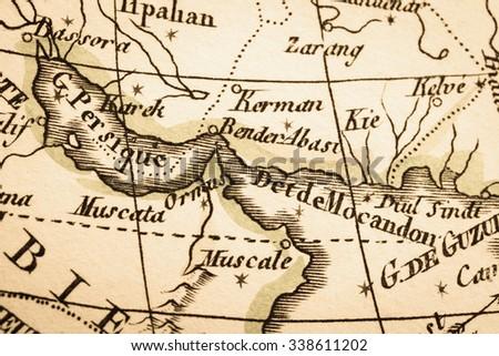 Antique world map persian gulf strait stock photo royalty free antique world map persian gulf and strait of hormuz gumiabroncs Gallery