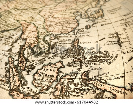 Antique World Map Southeast Asia