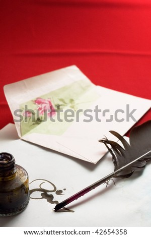 Antique writting mail on red backgrounds - stock photo