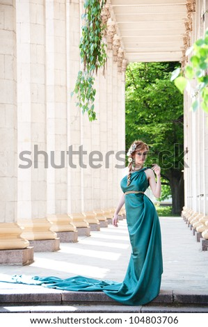Antiquity. Portrait of attractive beautiful girl in the image of - stock photo