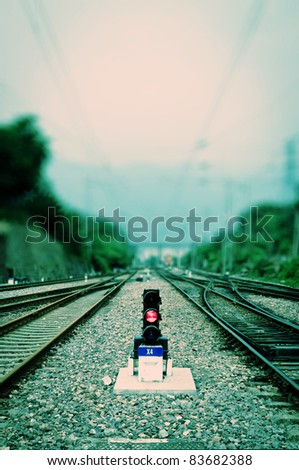 antiquity railway and signal lamp - stock photo