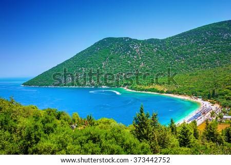 Antisamos beach on Kefalonia island, Greece - stock photo