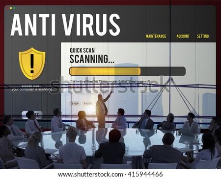 Antivirus Alert Firewall Hacker Protection Safety Concept - stock photo
