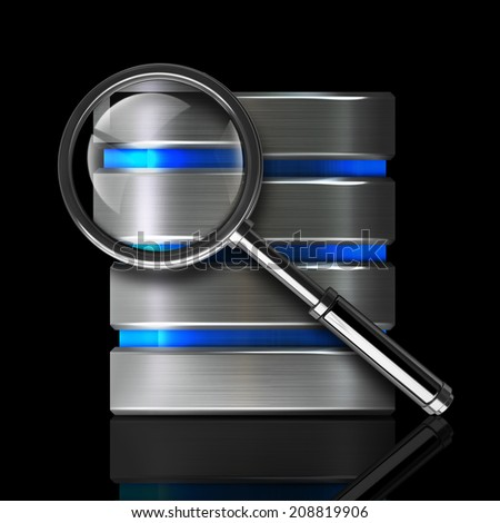 antivirus diagnostics. metal disk drive icon and magnifying glass isolated on black background High resolution 3d  - stock photo