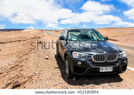 ANTOFAGASTA, CHILE - NOVEMBER 15, 2015: Motor car BMW F26 X4 at the interurban road. - stock photo