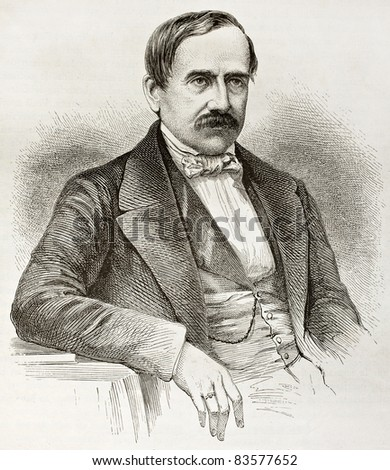 Antoine Brun-Rollet old engraved portrait. Created by Fath after photo of unknown author, published on Le Tour du Monde, Paris, 1860 - stock photo