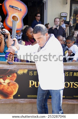 "Antonio Banderas at the Los Angeles Premiere of ""Puss In Boots"" held at the Regency Village Theater in Westwood, California, United States on October 23, 2011."