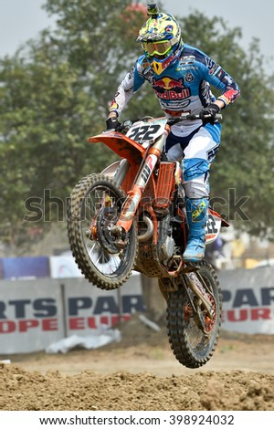 Antonio Cairoli no.222 Team Red Bull KTM Factory Racing in competes during  Race1 MXGP class the FIM Motocross Wolrd Championship Grand Prix of Thailand on March 06,2016 in Thailand. - stock photo