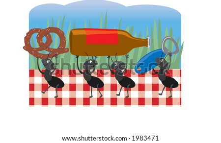 Ants Carrying Acorns Into Anthill Shape Stock Vector 54250117 ...