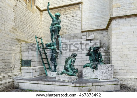 "ANTWERP, BELGIUM - APRIL 10: Memorial of Antwerp cathedral builder ""Pieter Appelmans