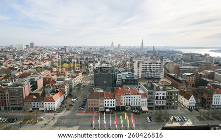 ANTWERP, BELGIUM - MARCH 7, 2015: Panorama on the center of Antwerp, second largest city of Belgium, with the Cathedral of Our Lady and the Church of Saint Paul close to the river Scheldt. - stock photo