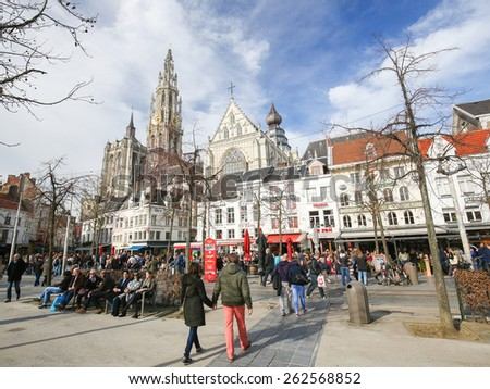 ANTWERP, BELGIUM - MARCH 7, 2015: View on the Groenplaats, the Central Square of Antwerp, Belgium, with the Cathedral of Our Lady. - stock photo