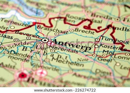 Antwerp Belgium, on atlas world map - stock photo