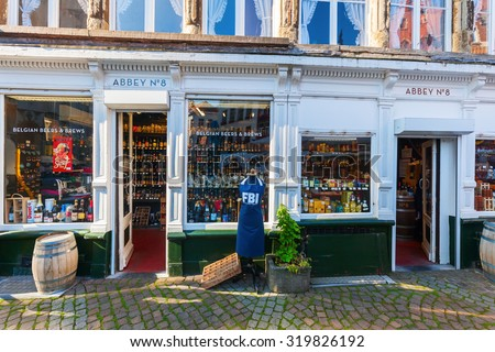 ANTWERP, BELGIUM - SEPTEMBER 03, 2015: beer shop at the Handschoenmarkt in Antwerp. Antwerp is the capital of Antwerp province and with a population of 510,610 most populous city in Belgium  - stock photo
