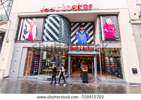 ANTWERP, BELGIUM - SEPTEMBER 03, 2015: Foot Locker store in the city with unidentified people. Foot Locker is an American sportswear and footwear retailer in approximately 20 countries worldwide.