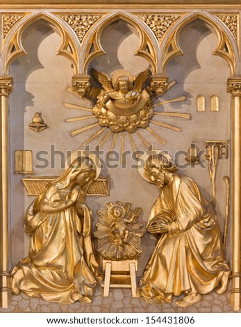 ANTWERP, BELGIUM - SEPTEMBER 5: Nativity relief from 19. cent. in altar of Joriskerk or st. George church on September 5, 2013 in Antwerp, Belgium - stock photo