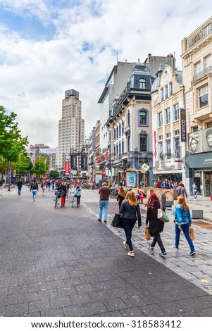 ANTWERP, BELGIUM - SEPTEMBER 03, 2015: shopping street with unidentified people. Antwerp is the capital of Antwerp province and with a population of 510,610 the most populous city in Belgium - stock photo