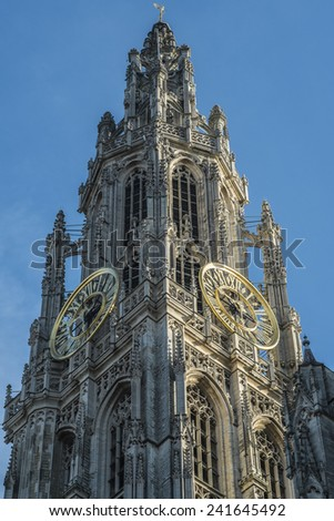 ANTWERP, FLANDERS, BELGIUM - November 13th 2014 Cathedral of Our Lady in Antwerp taken at dawn - stock photo