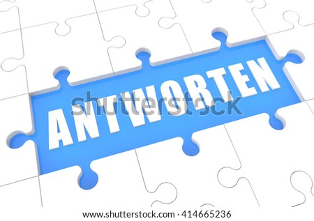 Antworten - german word for answer or respond - puzzle 3d render illustration with word on blue background - stock photo