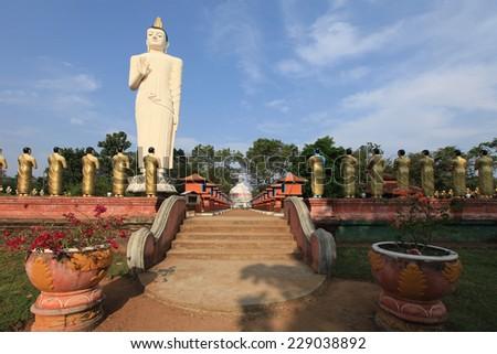 Anuradhapura, Budha and dagoba Ruvanvelisaya, Sri Lanka - stock photo
