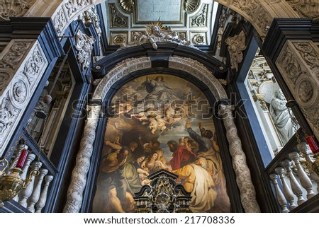ANVERS, BELGIUM - AUGUST 04, 2014 : Interiors, paintings and details of Saint Charles Borromee church,  August 4, 2014,  in  Anvers, Belgium.