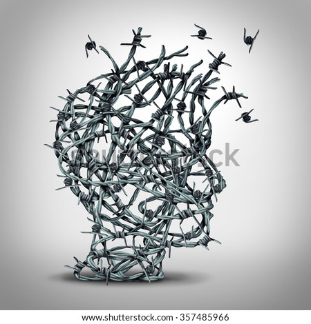 Anxiety solution and freedom from fear and depression as a group of tangled barbwire or barbed wire fence shaped as a human head breaking free as a metaphor for psychological or psychiatric icon. - stock photo