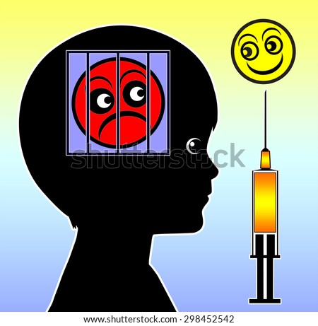 Anxiety Treatment. Medication for anxiety disorder or social phobia in kids and teens - stock photo