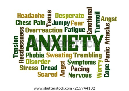 Anxiety word cloud on white background. - stock photo