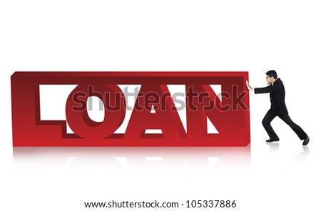Anxious asian businessman pushing loan sign. Shot in studio isolated on white - stock photo