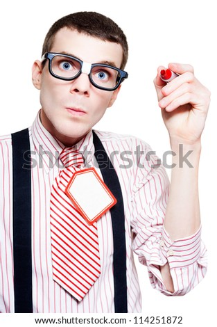 Anxious Geek Businessman Writing Copyspace Message With A Red Pen In A Retail Stocktake Price Discount Concept On White Background