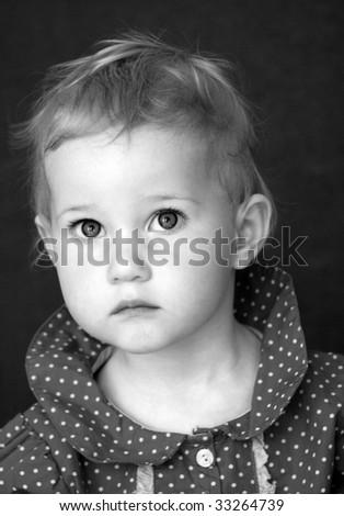 anxious looking girl - stock photo