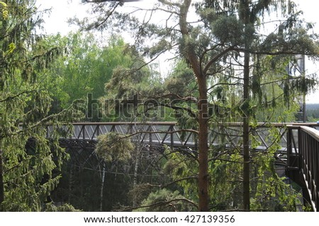 "ANYKSCIAI, LITHUANIA - May 24, 2016: Treetop Walk-path in Anyksciai, Lithuania - it is named ""LAJU TAKAS"""