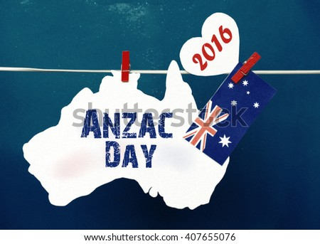 Anzac Day, April 25, public holiday with pegs on a line message greeting on white Australian maps with Aussie flag red heart  Australian flag. Lest We Forget. retro filters light effects.