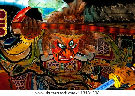 AOMORI, JAPAN - MAY 8 : Lantern float for Nebuta Festival (Nebuta Matsuri) displayed at Warasse Nebuta Museum on May 8 2012. Nebuta festival is held annually from August 2 to 7 in Aomori, Japan.