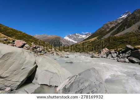 Aoraki Mount Cook ,Beautiful view during walk to glacier in Mount Cook National Park, South Island, New Zealand - stock photo